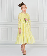 Girl in yellow sheer and chiffon full length party dress with rose bouquet applique on waist for kids