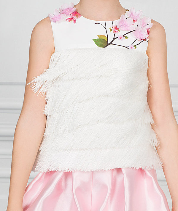 White blouse with tassels and pink flower appliques for kids
