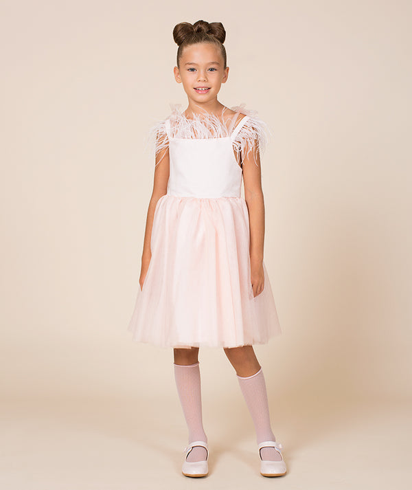 White and pink dress for kids with tulle skirt