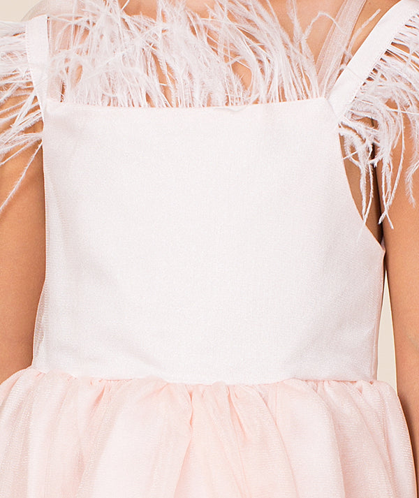 White blouse for kids with feathers