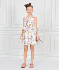 Girl in white and flower print chiffon dress with flower appliques for girls.
