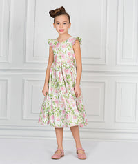 Girl in white and pink floral party dress for kids