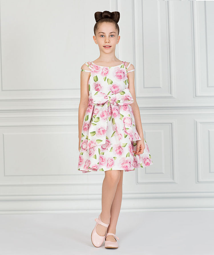 Product Image of Tulip Prints Bow Dress #1