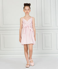 Girl in white and pink striped casual dress for kids