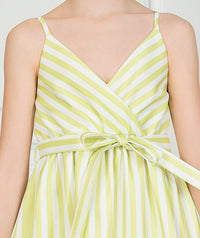 White and green summer dress with a bow in the front for kids