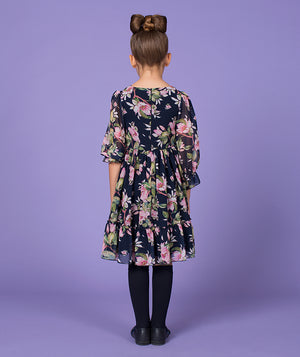 Back of girl in floral print dress for kids