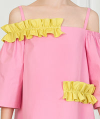 Girl with pink and yellow casual dress for kids