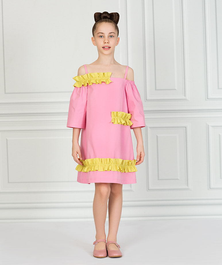Product Image of Flower Cut Pink Dress #1
