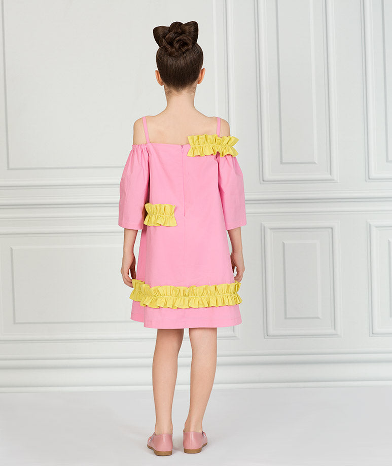 Product Image of Flower Cut Pink Dress #3