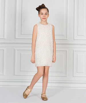 Girl with white headband and white tassel dress for kids by Mama Luma