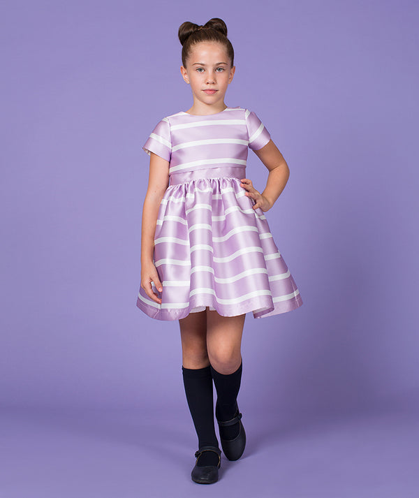 Girl in lilac and white striped designer dress for kids by Mama Luma