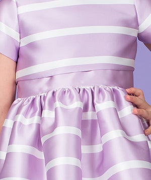 Lilac and white striped designer dress for kids by Mama Luma