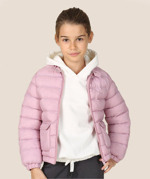 Girl in pink puffy jacket for kids by Mama Luma