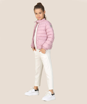 Girl in puffy pink jacket for girls by Mama Luma