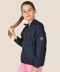 Girl in navy blue raincoat for kids by Mama Luma