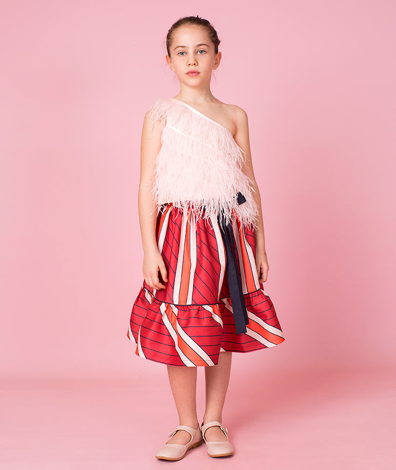 Furry Coral Striped Ika Outfit | 2 pieces