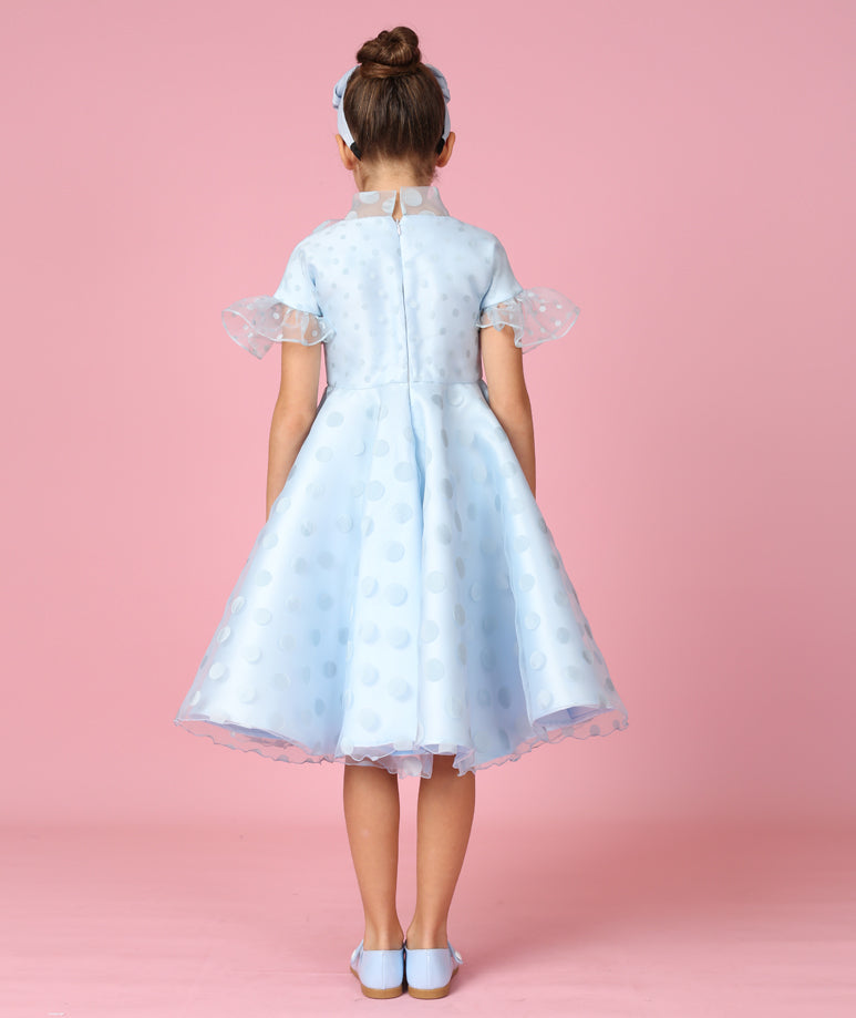 Blue Polka Dot Chiffon Dress with Long Ruffles & Bows