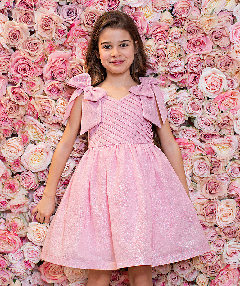 Pink Sparkles Party Dress with Bows on Shoulders