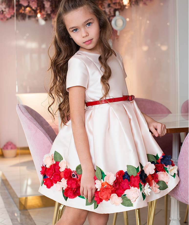 Flower Appliques Special Occasion Dress with Red Belt on Waist