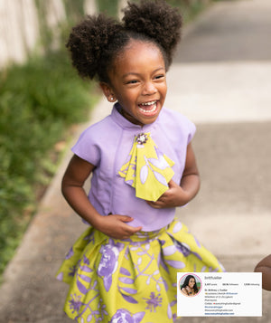 Brittney Fusilier's daughter wearing a lilac blouse with yellow flower print tie and skirt for girls by Mama Luma