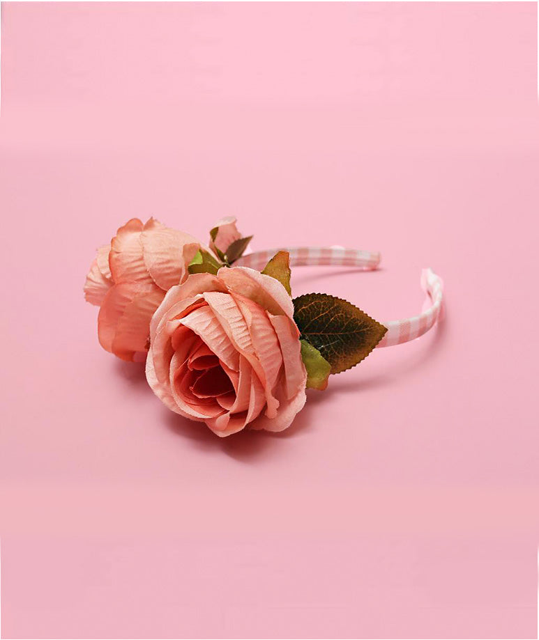 Roses on Striped Headband