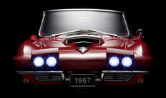 Corvette L88 1967 by Franklin Mint 1:12 Scale front view with headlamps on