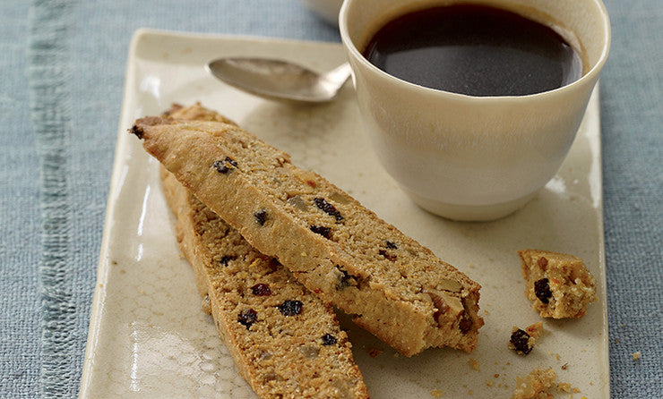 Ginger currant biscotti served with coffee or tea  with pistachios or walnuts