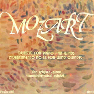 Mozart ‎– Quintet For Piano And Winds - Divertimento No. 14 For Wind Quintet  (1984)