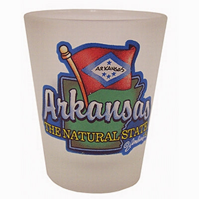 Arkansas Shot Glass Frosted Map/Flag