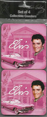 Elvis Coasters Pink w/Guitars-Set of 4 -
