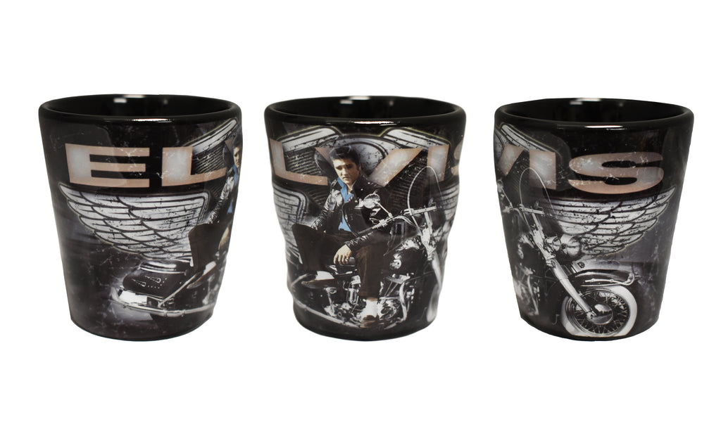 Elvis Shot Glass Motorcycle w/Wings Embossed
