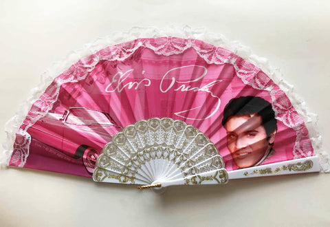 Elvis Hand Fan Pink w/Guitars
