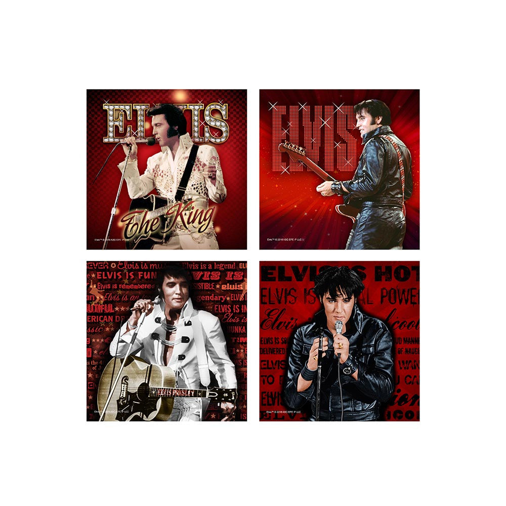 Elvis Coasters Red '68 Name, The King Red