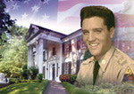 Elvis Postcard Graceland Flag