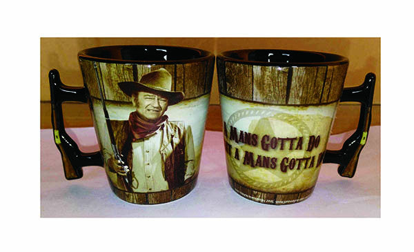John Wayne Shot Glass Rifle Handle Man's Gotta