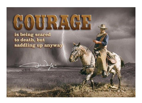 John Wayne Metal Sign Courage Storm