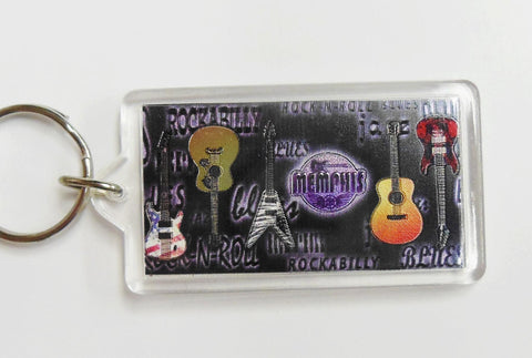 Memphis Key Chain Metallic Guitars