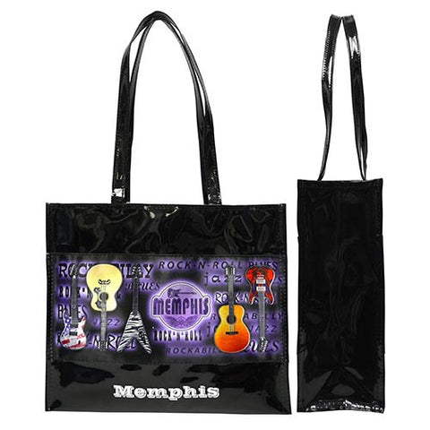 Memphis Tote Bag Metallic w/Guitars