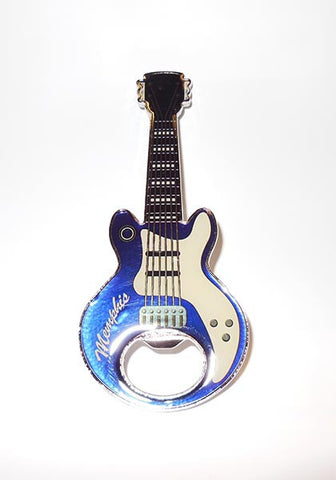 Memphis Bottle Opener Magnet Guitar Blue