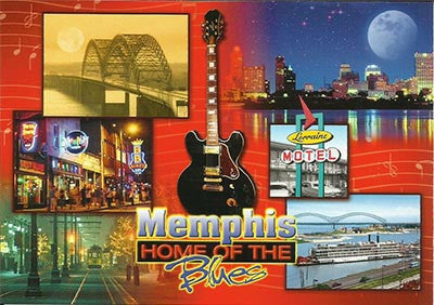 Memphis Postcard Home of Blues Collage