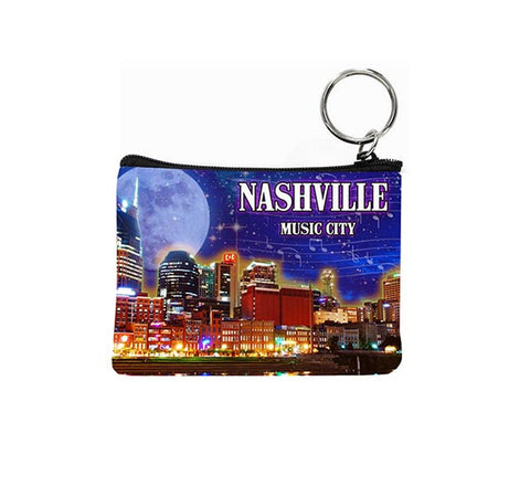 Nashville Key Chain Coin Purse Night Skyline