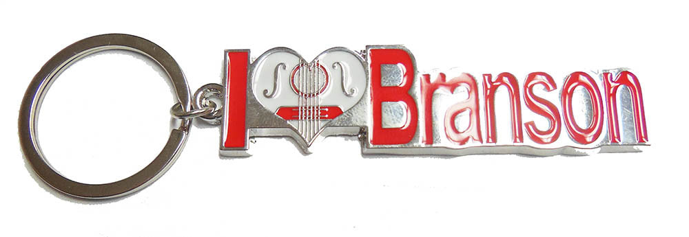 Branson Key Chain I Heart Guitar