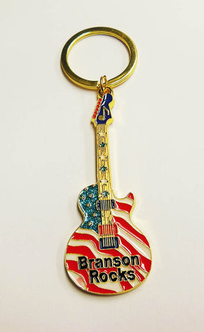 Branson Key Chain Rocks Guitar Flag