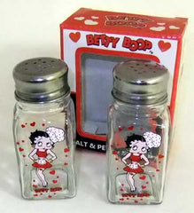 Betty Boop Salt & Pepper Silver Lid Chef Clear