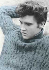 Elvis Postcard Blue Sweater