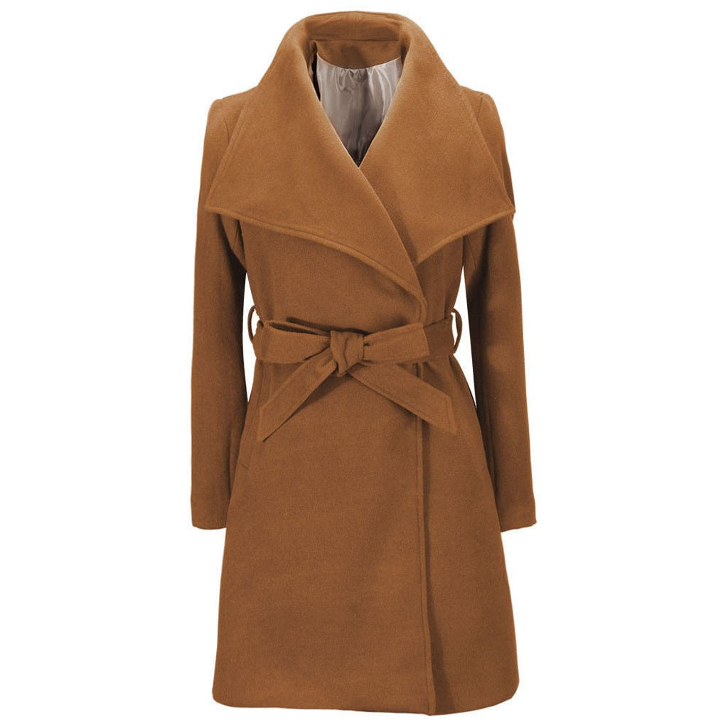 Women's Long Sleeve Woolen Coat