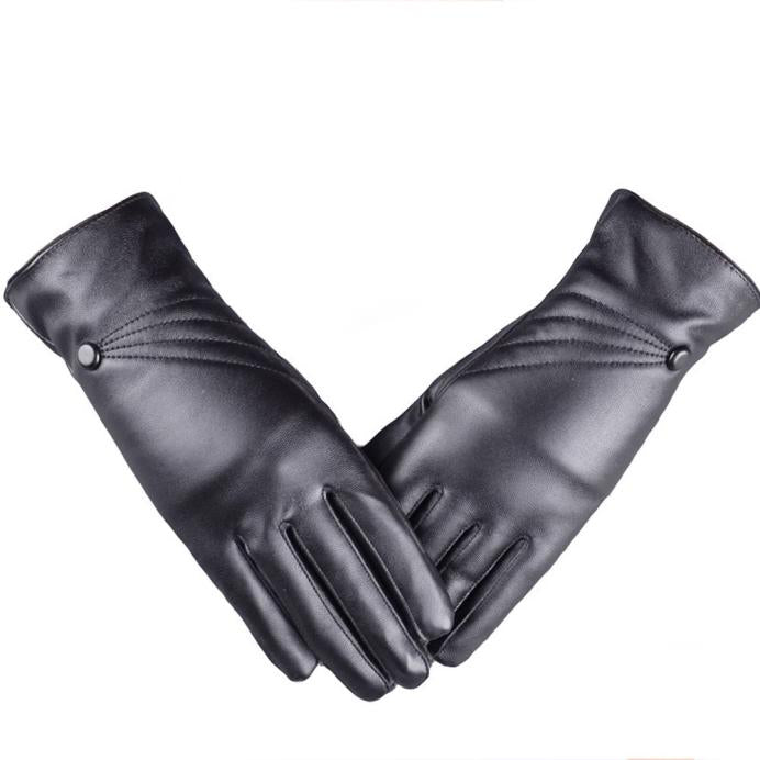 Women Girl Leather  Warm Gloves