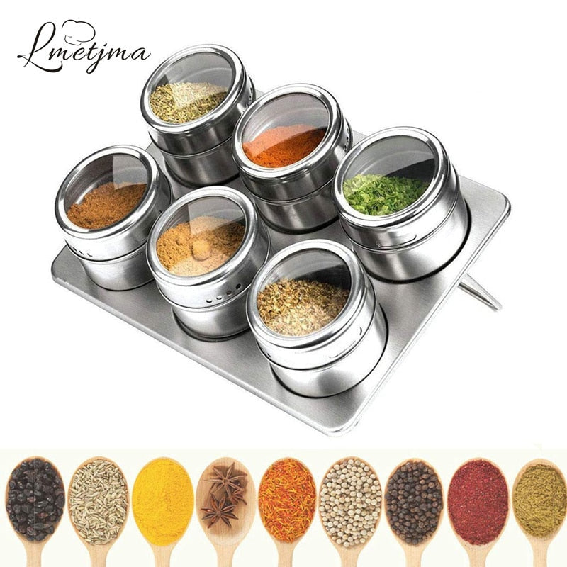 Magnetic Spice Jars with Spice Rack