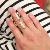Quad Quill Ring with Pearls - Gold - AMANDA PEARL