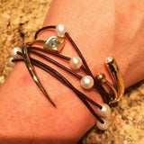 Quill Bypass Bracelet - Gold - AMANDA PEARL
